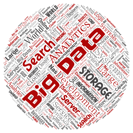 Vector conceptual big data large size storage systems round circle red word cloud isolated background. Collage of search analytics world information, nas development, future internet mobility concept