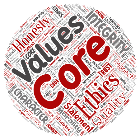 Vector conceptual core values integrity ethics round circle red concept word cloud isolated background. Collage of honesty quality trust, statement, character, perseverance, respect and trustworthy