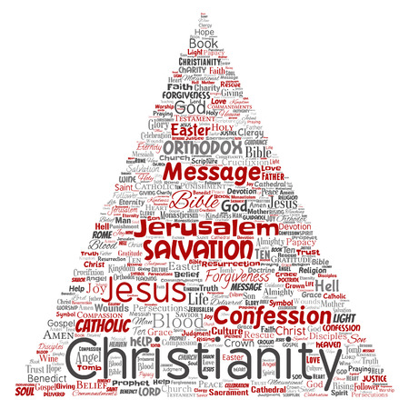 Vector conceptual christianity, jesus, bible, testament triangle arrow red  word cloud isolated background. Collage of teachings, salvation resurrection, heaven, confession, forgiveness, love concept Illustration