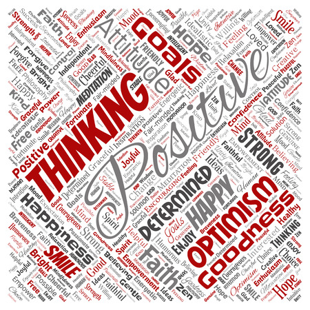 Vector conceptual positive thinking, happy strong attitude square red word cloud isolated on background. Collage of optimism smile, faith, courageous goals, goodness or happiness inspiration