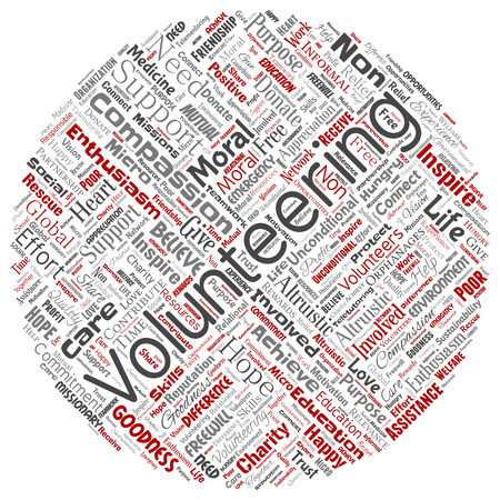 Conceptual volunteering, charity, humanitarian round circle red word cloud isolated background. Collage of selfless, support, philanthropy, nonprofit,  goodness, togetherness, giving concept