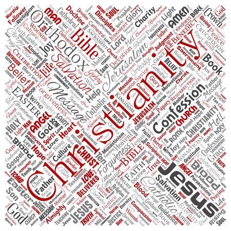Conceptual christianity, jesus, bible, testament square red  word cloud isolated background. Collage of teachings, salvation resurrection, heaven, confession, forgiveness, love concept Stock Photo