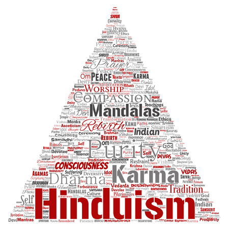 Vector conceptual hinduism, shiva, rama, yoga triangle arrow red word cloud isolated background. Collage of mandalas, samsara, celebration, tradition, peace, compassion, rebirth, karma, dharma concept