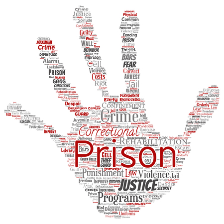 Conceptual prison, justice, crime hand print stamp word cloud isolated background. Collage of punishment, law, rights, social, authority, system, civil, trial, rehabilitation, freedom concept