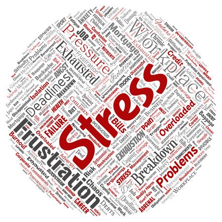 Conceptual mental stress at workplace or job pressure human round circle red word cloud isolated background. Collage of health, work, depression problem, exhaustion, breakdown, deadlines risk Stock Photo