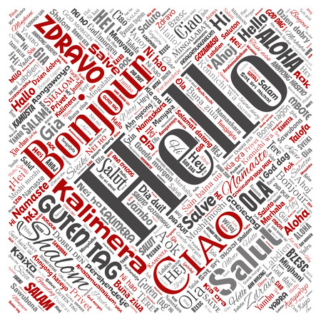 Concept or conceptual square red hello or greeting international tourism word cloud in different languages or multilingual. Collage of world, foreign, worldwide travel translate, vacation Stok Fotoğraf