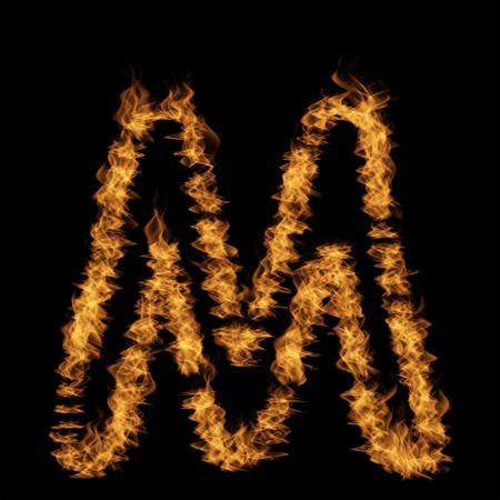 黒い背景に隔離された燃えるまたは荒れ狂うオレンジ黄色の火で作られた概念的な熱い燃える炎のフォント。抽象的な不機嫌な輝く地獄やインフェルノ危険概念エネルギー設計の3Dイラスト