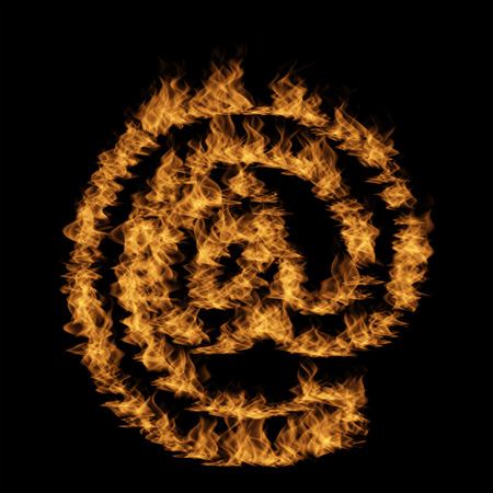 Conceptual hot fiery burning flame font made of blazing or raging orange yellow fire isolated on black background. 3D illustration of abstract grungy glowing hell or inferno danger concept energy design Stock Photo