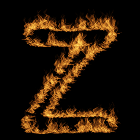 Conceptual hot fiery burning flame font made of blazing or raging orange yellow fire isolated on black background. 3D illustration of abstract grungy glowing hell or inferno danger concept energy design 版權商用圖片