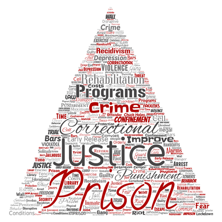 Vector conceptual prison, justice, crime triangle arrow red word cloud isolated background. Collage of punishment, law, rights, social, authority, system, civil, trial, rehabilitation, freedom concept