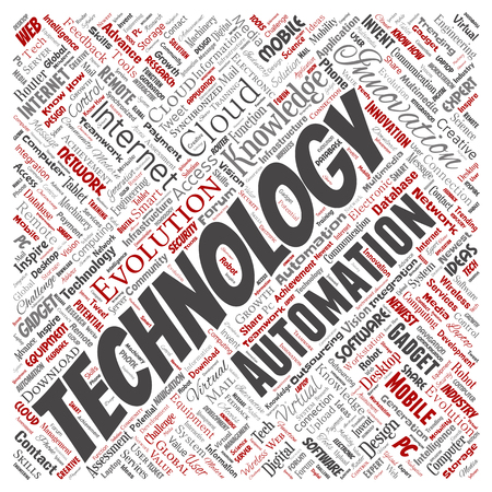Vector conceptual digital smart technology, innovation media square red word cloud isolated background. Collage of information, internet, future development, research, evolution or intelligence 向量圖像
