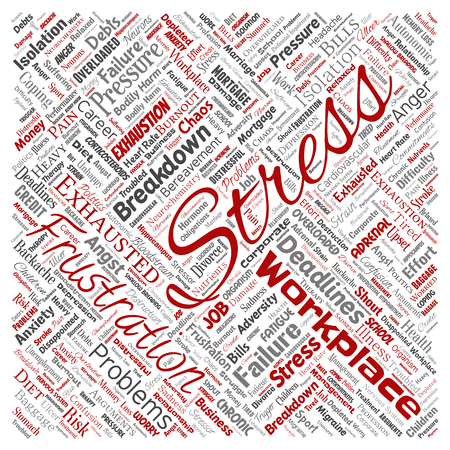 Vector conceptual mental stress at workplace or job pressure human square red word cloud isolated background. Collage of health, work, depression problem, exhaustion, breakdown, deadlines risk
