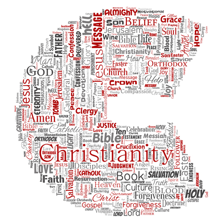 Vector conceptual christianity, jesus, bible, testament letter font C red word cloud isolated background. Collage of teachings, salvation resurrection, heaven, confession, forgiveness, love concept