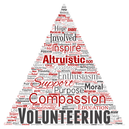 Vector conceptual volunteering, charity, humanitarian triangle arrow red word cloud isolated background. Collage of selfless, support, philanthropy, nonprofit,  goodness, togetherness, giving concept