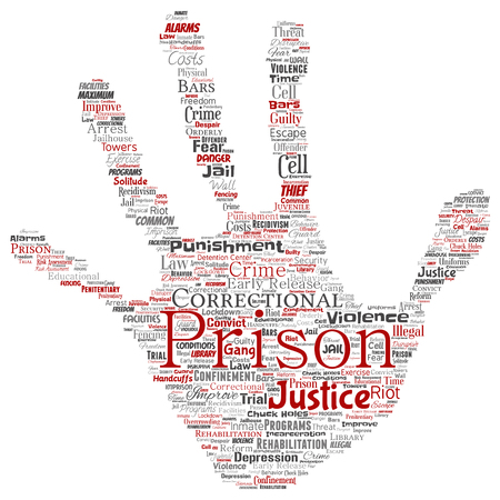 Vector conceptual prison, justice, crime hand print stamp word cloud isolated background. Collage of punishment, law, rights, social, authority, system, civil, trial, rehabilitation, freedom concept