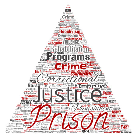 Conceptual prison, justice, crime triangle arrow red word cloud isolated background. Collage of punishment, law, rights, social, authority, system, civil, trial, rehabilitation, freedom concept