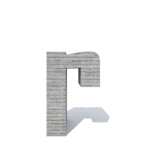 Conceptual gray heavy rough concrete constructed font or type, construction industry piece isolated white background. Educative architecture material, aged texture surface as 3D illustration design