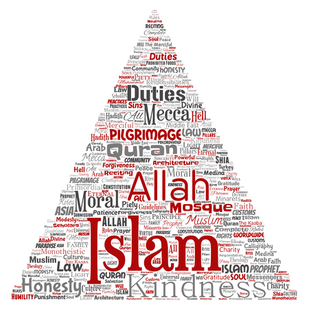 Vector conceptual islam, prophet, mosque triangle arrow red word cloud isolated background. Collage of muslim, ramadam, quran, pilgrimage, allah, duties, art, calligraphy, oriental, tradition concept