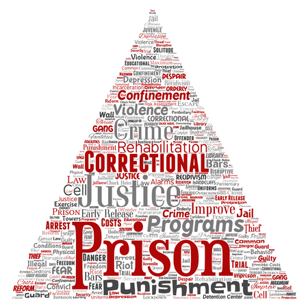 Vector conceptual prison, justice, crime triangle arrow red word cloud isolated background. Collage of punishment, law, rights, social, authority, system, civil, trial, rehabilitation, freedom concept Illustration