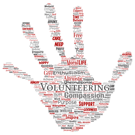 Conceptual volunteering, charity, humanitarian hand print stamp word cloud isolated background. Collage of selfless, support, philanthropy, nonprofit,  goodness, togetherness, giving concept Stock Photo