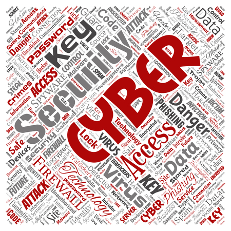Vector conceptual cyber security online access technology square red word cloud isolated background. Collage of phishing, key virus, data attack, crime, firewall password, harm, spam protection