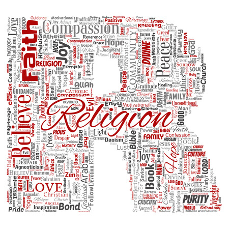 Vector conceptual religion, god, faith, spirituality letter font R red  word cloud isolated background. Collage of worship, love, prayer, belief, gratitude, hope, divine, symbol, spirit, church concept