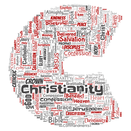 Vector conceptual christianity, jesus, bible, testament letter font C red  word cloud isolated background. Collage of teachings, salvation resurrection, heaven, confession, forgiveness, love concept Illustration