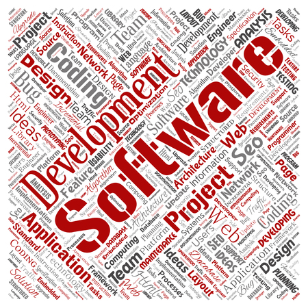 Vector conceptual software development project coding technology square red  word cloud isolated background. Collage of application web design, seo ideas, implementation, testing upgrade concept Stock Illustratie