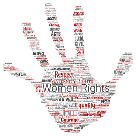 Conceptual Women Rights Equality Free Will Hand Print Stamp