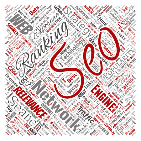 Vector conceptual search results engine optimization top rank seo square red online internet word cloud text isolated on background. Marketing strategy web page content relevance network concept Çizim
