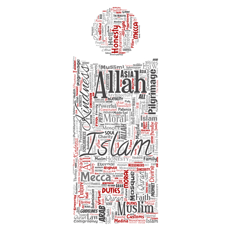 Vector conceptual islam, prophet, mosque letter font I red word cloud isolated background. Collage of muslim, ramadam, quran, pilgrimage, allah, duties, art, calligraphy, oriental, tradition concept 일러스트