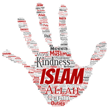 Vector conceptual islam, prophet, mosque hand print stamp word cloud isolated background. Collage of muslim, ramadam, quran, pilgrimage, allah, duties, art, calligraphy, oriental, tradition concept Illustration