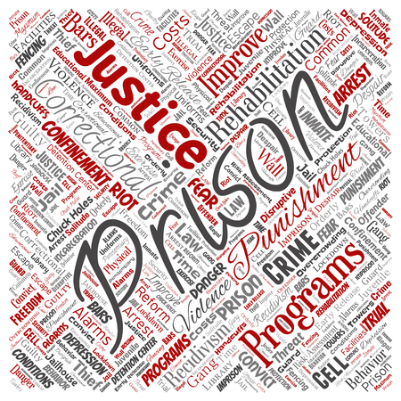 Conceptual prison, justice, crime square red word cloud isolated background. Collage of punishment, law, rights, social, authority, system, civil, trial, rehabilitation, freedom concept Stock Photo