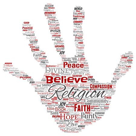 Conceptual religion, god, faith, spirituality hand print stamp  word cloud isolated background. Collage of worship, love, prayer, belief, gratitude, hope, divine, symbol, spirit, church concept