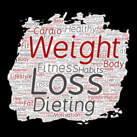 Vector conceptual weight loss healthy diet transformation paint brush paper word cloud isolated background. Collage of fitness motivation lifestyle, before and after workout slim body beauty concept Stock Illustratie