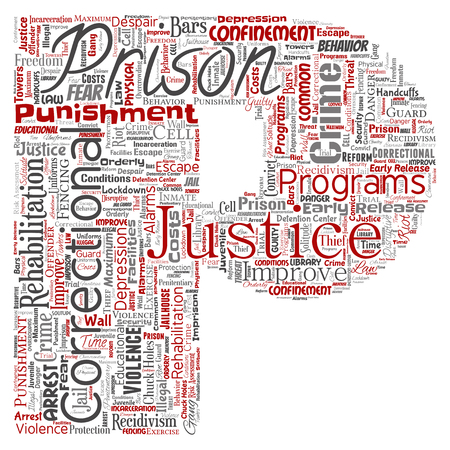 Vector conceptual prison, justice, crime letter font P red word cloud isolated background. Collage of punishment, law, rights, social, authority, system, civil, trial, rehabilitation, freedom concept Vettoriali