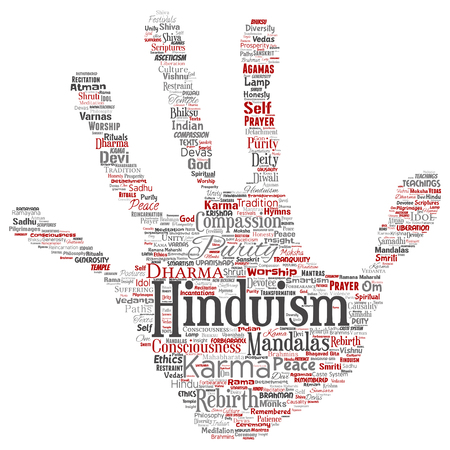Vector conceptual hinduism, shiva, rama, yoga hand print stamp word cloud isolated background. Collage of mandalas, samsara, celebration, tradition, peace, compassion, rebirth, karma, dharma concept