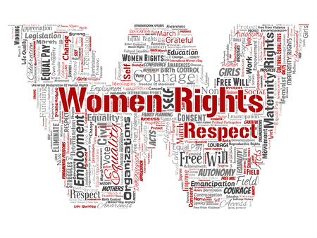 Vector conceptual women rights, equality, free-will letter font W red word cloud isolated background. Collage of feminism, empowerment, integrity, opportunities, awareness, courage, education, respect concept Иллюстрация