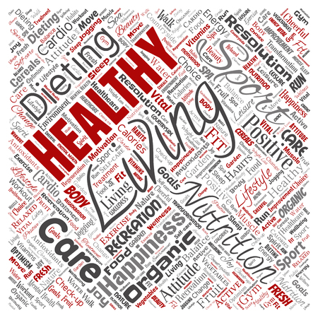 Vector conceptual healthy living positive nutrition sport square red word cloud isolated background. Collage of happiness care, organic, recreation workout, beauty, vital healthcare spa concept