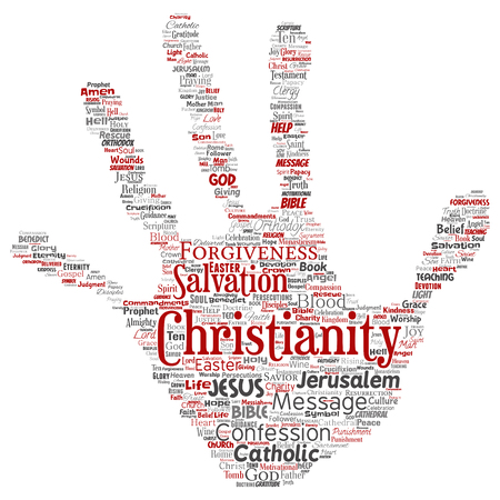 Vector conceptual christianity, jesus, bible, testament hand print stamp  word cloud isolated background. Collage of teachings, salvation resurrection, heaven, confession, forgiveness, love concept