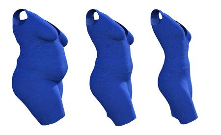 Traje de vestido femenino obeso con sobrepeso gordo conceptual vs cuerpo sano en forma delgada después de la pérdida de peso o la dieta delgada joven aislada. Una ilustración 3D de forma de salud de obesidad, nutrición o gordura