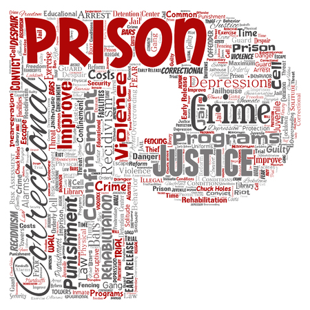 Vector conceptual prison, justice, crime letter font P red word cloud isolated background. Collage of punishment, law, rights, social, authority, system, civil, trial, rehabilitation, freedom concept Illustration