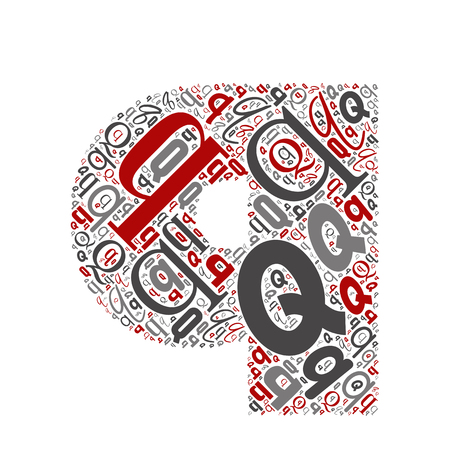 Vector conceptuele rood, grijs en zwart speels grappig onderwijs lettertype gemaakt van briefcollectie of groep op tekenvormen geïsoleerd op een witte achtergrond. Een modern ontwerp van het leerelement van het kunstalfabet
