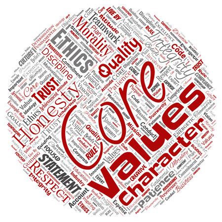 Vettore concettuale valori fondamentali integrità etica cerchio rosso concetto parola nuvola sfondo isolato. Collage di onestà qualità, fiducia, dichiarazione, carattere, perseveranza, rispetto e affidabilità
