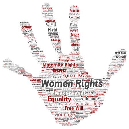 Vector conceptual women rights, equality, free-will hand print stamp word cloud isolated background. Collage of feminism, empowerment, integrity, opportunities, awareness, courage, education, respect concept