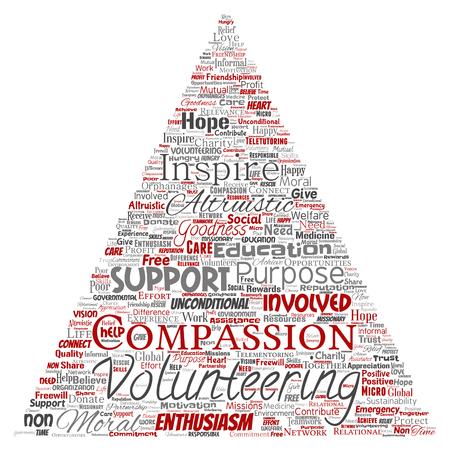 Bénévolat conceptuel de vecteur, charité, triangle humanitaire flèche rouge mot nuage isolé fond. Collage d'altruisme, de soutien, de philanthropie, à but non lucratif, de bonté, de solidarité, de concept de don
