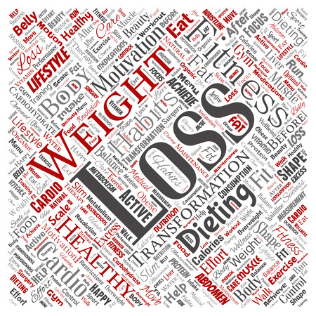 Vector conceptual weight loss healthy diet transformation square red word cloud isolated background. Collage of fitness motivation lifestyle, before and after workout slim body beauty concept Ilustração