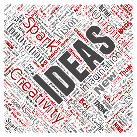 Vector conceptual creative idea brainstorming human square red word cloud isolated background. Collage of spark creativity original, innovation vision, think, achievement or smart genius concept