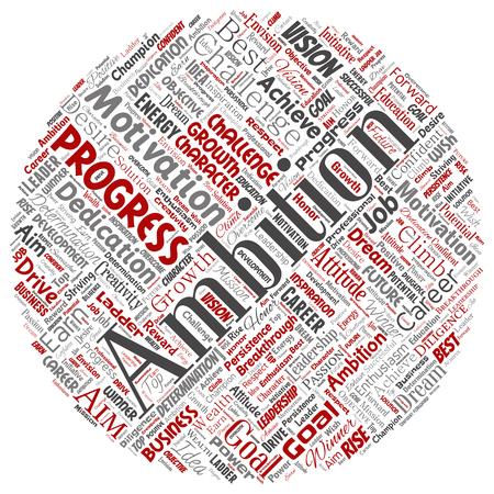 Vector conceptual liderazgo ambición o motivación círculo rojo exitoso personaje palabra nube fondo aislado. Collage de desafío de crecimiento empresarial, concepto de objetivo de inspiración de sueño positivo