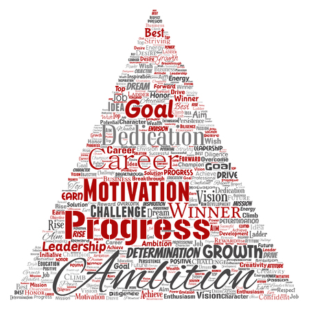 Vector conceptual leadership ambition or motivation triangle arrow successful character word cloud isolated background. Collage of business growth challenge, positive dream inspiration goal concept Vetores